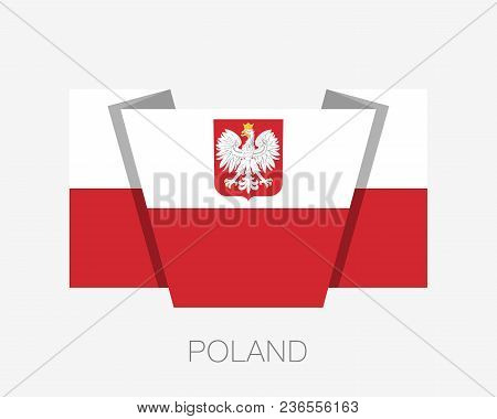 Flag Of Poland With Eagle. Flat Icon Waving Flag With Country Name