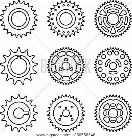 Various Kinds Of Sprocket For Car. Vector Thin Line