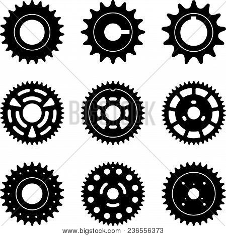 Different Kinds Of Sprocket For Car. Vector Silhouette Icons
