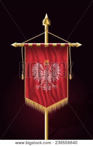 Eagle With A Crown. The National Emblem Of Poland. Festive Vertical Banner. Wall Hangings