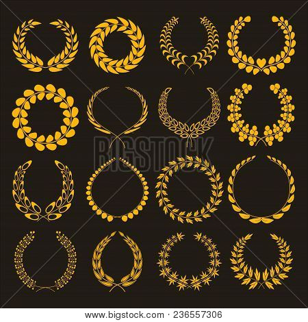 Set Of Silhouettes Of Golden Laurel Wreaths. Gold Wreath Vector Icons Different Shapes Isolated On W