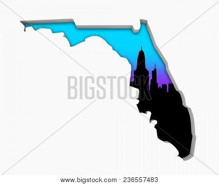 Florida FL Skyline City Metropolitan Area Nightlife 3d Illustration