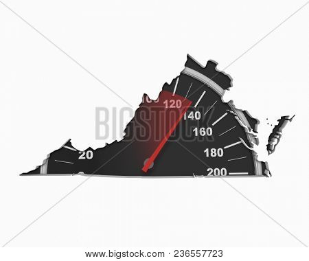 Virginia VA Speedometer Map Fast Speed Competition Race 3d Illustration