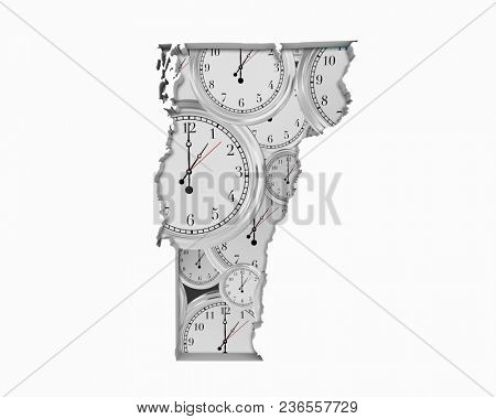 Vermont VT Clock Time Passing Forward Future 3d Illustration