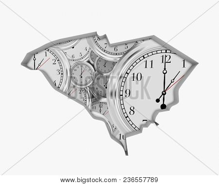 South Carolina SC Clock Time Passing Forward Future 3d Illustration