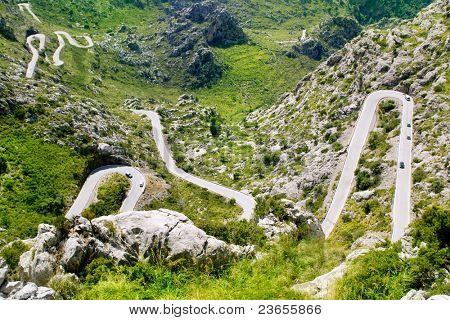 Winding road in mountain near Sacalobra in Mallorca Tramuntana from Spain poster