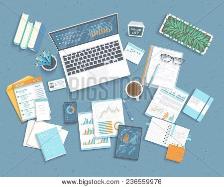 Data Analysis Concept. Financial Audit, Analytics, Statistics, Strategic, Report, Management. Charts