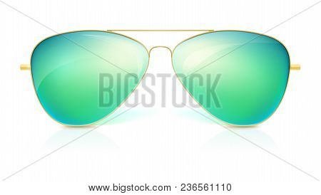 Realistic Sunglasses, Classic Shape In Fine Gold Frame Isolated On White Background. Icon Of Sunglas