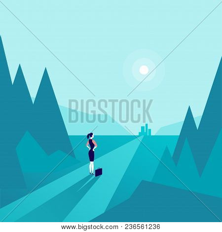 Vector Business Concept Illustration With Business Lady Standing At Forest Edge & Watching On Horizo