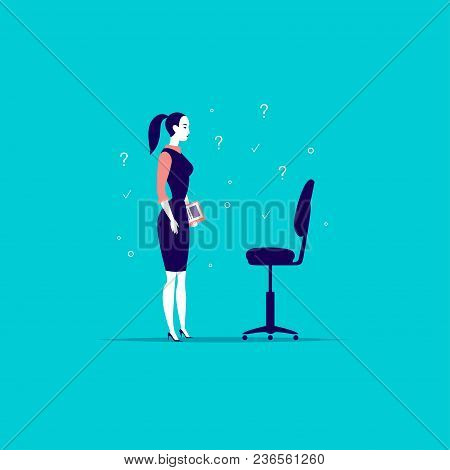 Vector Flat Business Illustration With Office Lady Standing At Blank Chair Isolated On Blue Backgrou