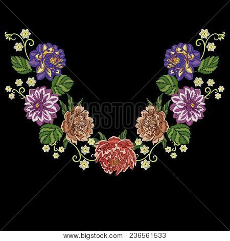 Embroidery Design. Embroidered Collection Of Dahlia, Peony And Chrysanthemum Flowers For Textile Pri
