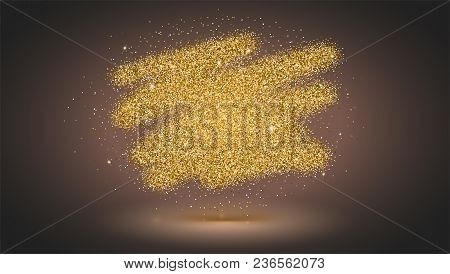 Luxury Gold Sparkle Glitter Background With Glow And Shadow. Bold Brush Strokes With Texture Of Dust