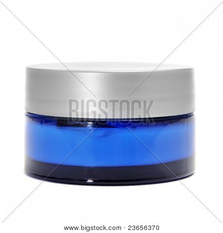 a blue cosmetic jar on a white background