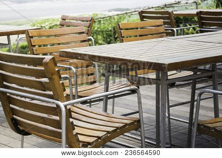 Outdoor Chairs And Table In Summer, Stock Photo