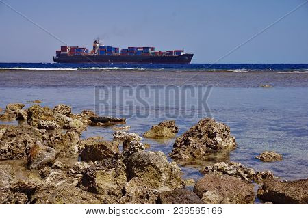 International Shipping By Container Cargo Ship In Ocean At The Evening To Customer,logistics, Freigh