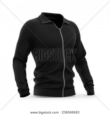 Men's zip neck pullover with raglan sleeves, rubber cuffs and collar. 3d rendering. Clipping paths included: whole object, collar, sleeve, zipper. Half-front view.