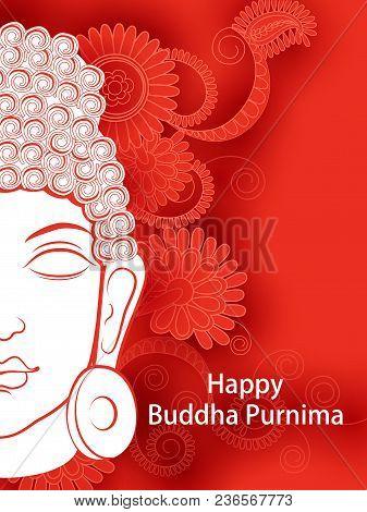 Vector Design Of Lord Budha On Happy Buddha Purnima Vesak Holiday Festival Background