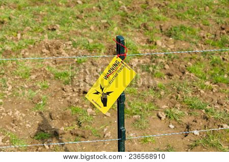 Low Voltage Electric Fence Used On Farms To Control Livestock