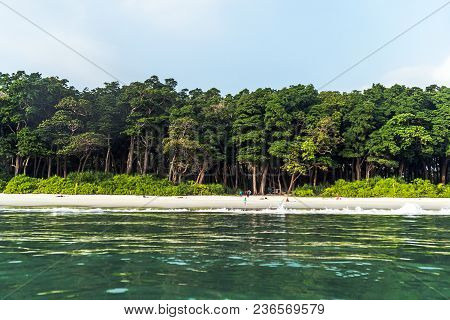 Stunning View Of Radhanagar Beach On Havelock Island. Havelock Island Is A Beautiful Small Island Be