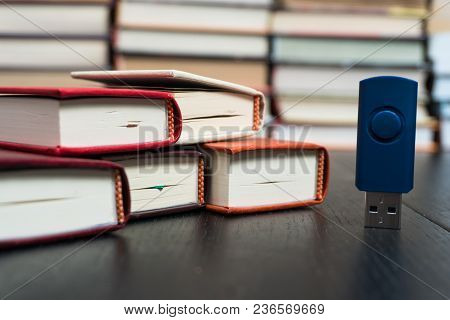 Memorization Of Knowledge Books And Organizer Are Near The Blue Stick On The Table Symbolizing. Stac