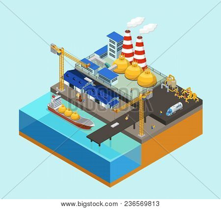 Isometric Gas Offshore Industry Concept With Tanker Cranes Storage Workers Truck Pipelines On Statio