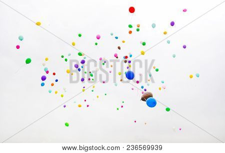Balloons Of Different Colors, Released In The Overcast Sky.