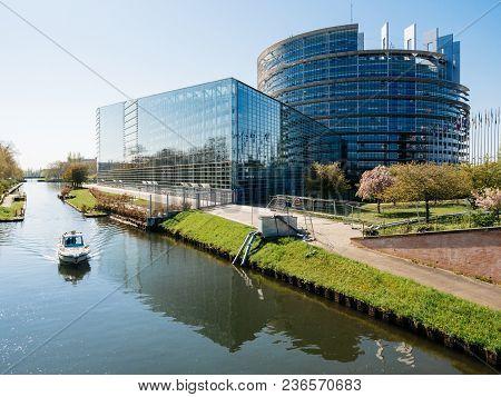 Strasbourg, France - Apr 17, 2018: Aerial View Of National Gendarmerie Boat Near European Parliament