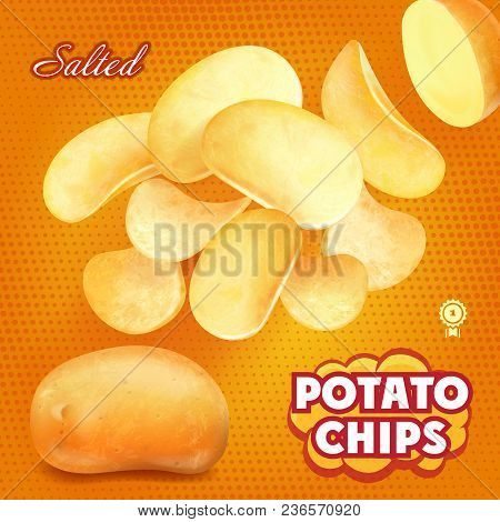 Classic Sliced Salted Potato Chips Advertising, 3d Illustration