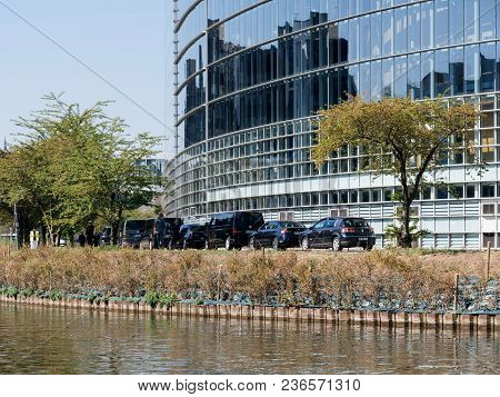 Strasbourg, France - Apr 17, 2018: Security Measures Taken Near The Convoy Of The Emmanuel Macron, P