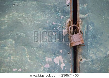 Rusty Metal Door Texture With Iron Master Key.security And Safe By Locked Door With Master Key.cland