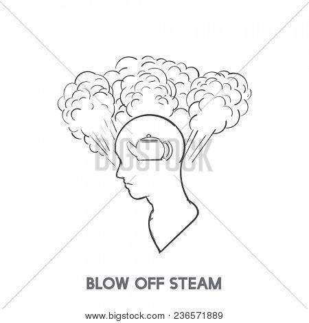 Blow off steam idiom illustration