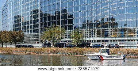 Strasbourg, France - Apr 17, 2018: National Gendarmerie Security Boat Near European Parliament Facad