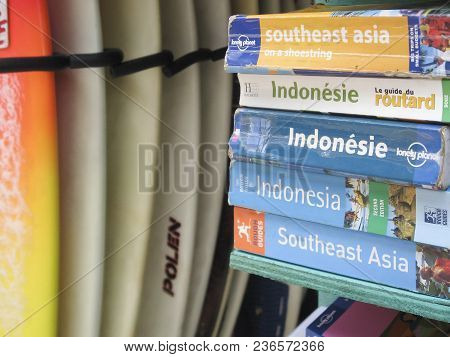 Kuta Beach, Bali - October 19 2007: Lonely Planet And Rough Guide Travel Guides For Southeast Asia A