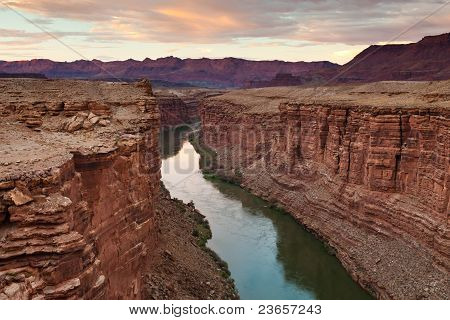 green river at sunset