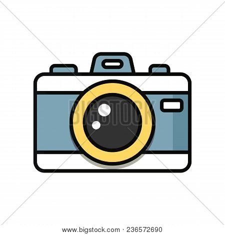 Camera Cartoon Isolated On White Background. Vector Stock.