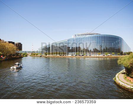 Strasbourg, France - Apr 17, 2018: View From Above Of National Gendarmerie Boat Near European Parlia