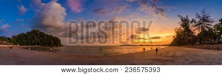 Ao Nang Krabi Thailand The Beach Has Plenty Of People In The Evening.golden Light Panoramic Photo