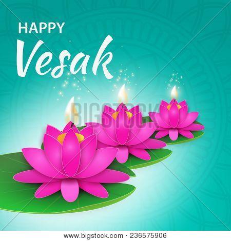 Illustration Of Happy Vesak Day Or Buddha Purnima Background.
