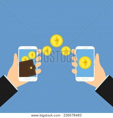 Wallet App Page With Golden Ethereum On Smartphone Screen. Hands Hold Smartphone. Mobile Wallet Acco