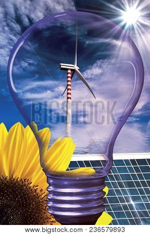 Summer Landscape With Sunflower A Solar Panel And A Light Bulb Silhouette In The Foreground And Wind