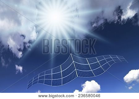 Conceptual, Solar Panel With The Shape Of A Virtual Seagull Flying In The Blue Sky
