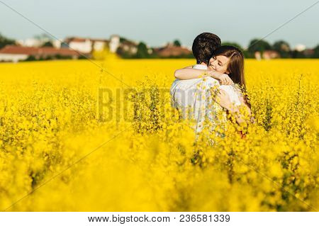 Passionate Affectionate Couple Embrace Each Other, Miss Very Much As Haven`t Seen For Long Time, Spe