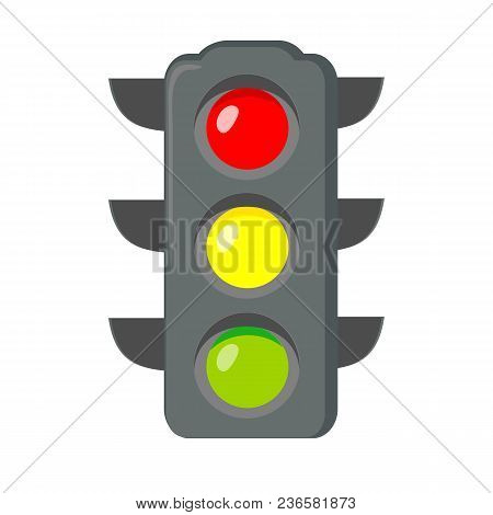 Icon Cartoon Traffic Light. Signals With Red Light Above Yellow And Green. Isolated On White Backgro