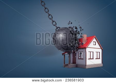 3d Rendering Of A Giant Wrecking Ball Breaks In Small Pieces When Hits A Small Family House. Sound H