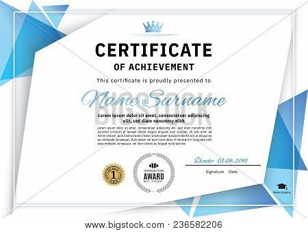 Official White Certificate With Blue Triangle Design Elements. Business Clean Modern Design. White V