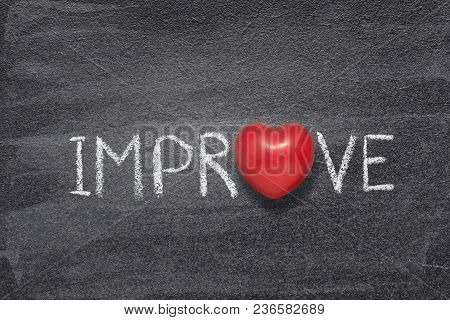 Improve Word Handwritten On Chalkboard With Red Heart Symbol Instead Of O