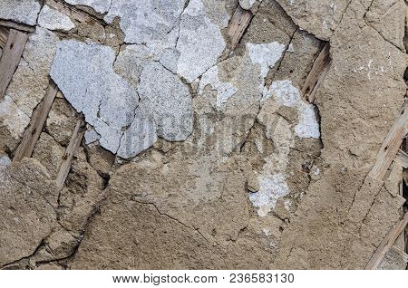 Texture Of Old Wall With Cracked Plaster