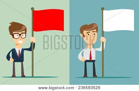 A Portrait Of A Young Man Holding A Red Flag Isolated On Background . Stock Flat Vector Illustration
