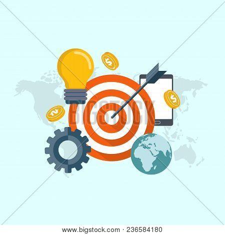 Finding Target Of Market Concept. Flat Vector Illustration