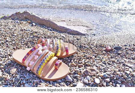 Bohemian Greek Sandals Advertisement On The Beach - Greek Leather Sandals